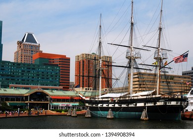 Baltimore, MD, USA May 10, 2013 The sloop of war USS Constellation is docked in Inner Harbor of Baltimore, Maryland