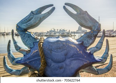 BALTIMORE, MD, USA - NOVEMBER 24, 2016: A large blue crab sculpture on display at Fell's Point in Baltimore