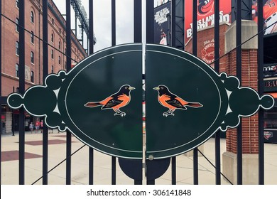 BALTIMORE, MD-AUGUST, 2015:  Entrance to the Baltimore Orioles stadium at Camden Yards.