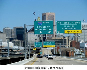 Baltimore, Md./USA-4/6/13: Motorists head into downtown Baltimore from Interstate 95. The headquarters of Transamerica Corp. is visible.