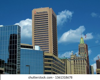Baltimore, Md./USA-Sept. 4, 2017: The corporate headquarters of Transamerica Corp. in downtown Baltimore. The tower was once known as the Legg Mason Building.