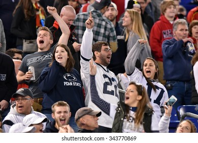 BALTIMORE - OCTOBER 24: Penn State Nittany Lions fans in the stands celebrate a win during the NCAA football game against Maryland October 24, 2015 in Baltimore.