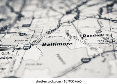 Baltimore on USA map background