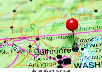 Baltimore pinned on a map of Maryland, USA