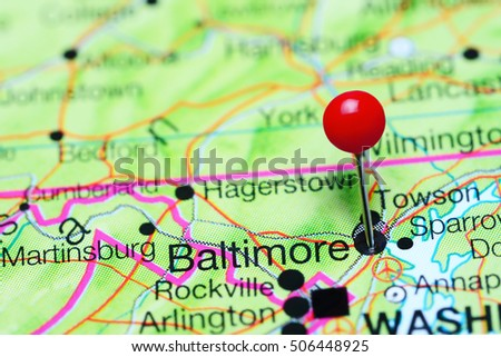 Maryland On Usa Map.Baltimore Pinned On Map Maryland Usa Stock Photo Edit Now