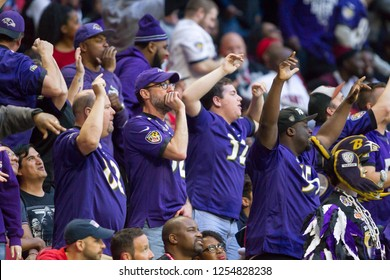 Baltimore Ravens Fans - NFL - December 2nd 2018 Atlanta Falcons Vs. Baltimore Ravens at the Mercedes Benz Stadium in Atlanta Georgia USA