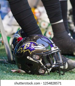 Baltimore Ravens Helmet - NFL - December 2nd 2018 Atlanta Falcons Vs. Baltimore Ravens at the Mercedes Benz Stadium in Atlanta Georgia USA