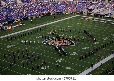 BALTIMORE - SEPTEMBER 21: The band takes the field at M&T Bank Stadium during halftime of the Ravens-Browns game September 21, 2008 in Baltimore, MD