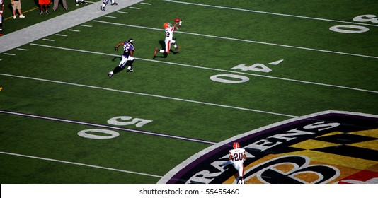 BALTIMORE - SEPTEMBER 21: Brandon McDonald (22) of the Cleveland Browns makes a catch over Derrick Mason (85) of the Baltimore Ravens during a game in Baltimore on September 21, 2008.