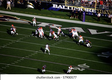 BALTIMORE - SEPTEMBER 21: Browns quarterback Derek Anderson gets rid of the ball before the Ravens defense closes in on him in a game at M&T Bank Stadium September 21, 2008 in Baltimore, MD