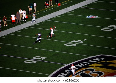 BALTIMORE - SEPTEMBER 21: Ravens QB Joe Flacco (not pictured) overthrows a pass intended for WR Derrick Mason, allowing Browns CB Brandon McDonald to intercept it September 21, 2008 in Baltimore, MD