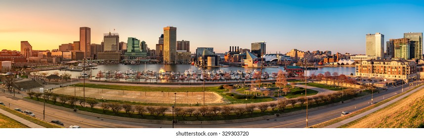 Baltimore skyline panorama at sunset, as viewed from Federal Hill