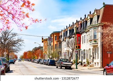 Baltimore streets in spring, Maryland, USA