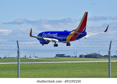 BALTIMORE, USA - AUGUST 06, 2017: A Southwest Airlines commercial plane preparing to land at the Baltimore Washington International airport.