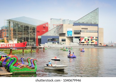 BALTIMORE, USA - JUNE 12, 2013: People ride dragon paddleboats with National Aquarium in background in Inner Harbor in Baltimore.