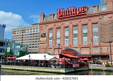 BALTIMORE, USA - JUNE 4, 2016: Phillips Seafood on the water in the Baltimore inner harbor. Phillips seafood is a chain restaurant specializing in seafood.