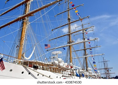 BALTIMORE, USA - JUNE 4, 2016: A beautiful ship docked in the Baltimore inner harbor. The baltimore inner harbor is a historic seaport and popular tourist attraction in Maryland.