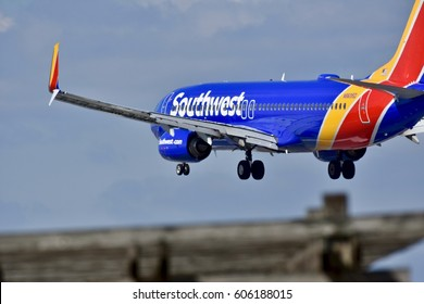 BALTIMORE, USA - MARCH 19, 2017: A Southwest Airlines plane preparing to land at the Baltimore Washington International airport.