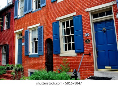 Baltimore,Maryland - July 24, 2013:  18th century federal era colonial homes on Montgomery Street in the Federal Hill historic district *
