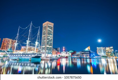 baltimore,maryland,usa. 09-07-17 :  Baltimore skyline at night with reflection in water.