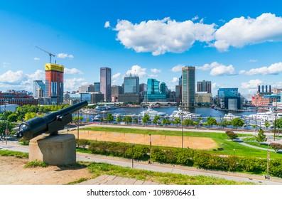 baltimore,maryland,usa. 09-07-17 :  Baltimore skyline on sunny day.