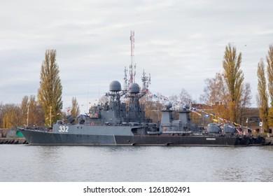 BALTIYSK, KALININGRAD REGION, RUSSIA  - NOVEMBER 04, 2018: Parchim-class anti-submarine russian corvette Kalmykia in Baltiysk harbor.