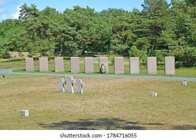 BALTIYSK, RUSSIA - JULY 12, 2020: Memorial plates at the international cemetery of World War II. Kaliningrad region