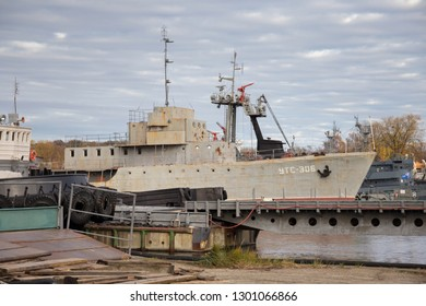 BALTIYSK, RUSSIA  - NOVEMBER 04, 2018: Old shabby russian minesweeper UTS-306. It was built in 1953 in Leningrad. Decommissioned from the fleet in 2018.
