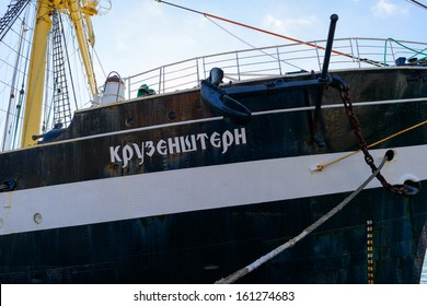 BALTIYSK, RUSSIA - OCTOBER 30: Russian sail training ship Kruzenshtern moored at berth number 1, near the monument to Peter the Great on October 30, 2013 in Baltiysk, Russia.