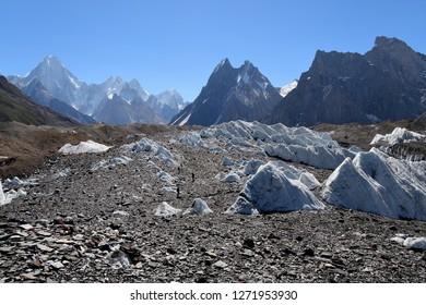 Baltoro Glacier along K2 concordia trekking Pakistan with black light  , taken from  goro II camping site