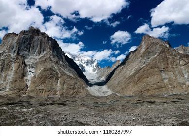 the Baltoro Glacier. Cathedral Peak in the background.