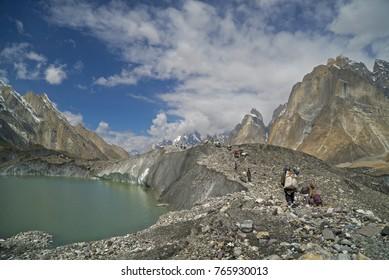 Baltoro Glacier and high mountains K2 and Broadpok and Concordia base camp in Pakistan Karakorum