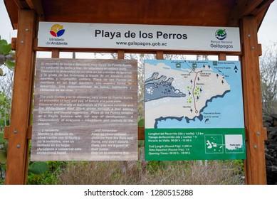 BALTRA, ECUADOR - NOVEMBER 11, 2018: Outdoor view of informative sign of los perros beach in Galapagos