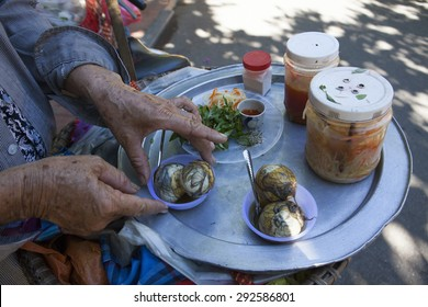 "Balut (boiled developing duck embryo) in Hoi An, Vietnam. This is a special cuisine in Asia countries. It once appeared on Fear Factor series as ""Eggs with legs"" or the ""treat with feet."""