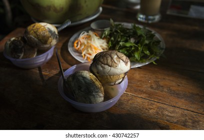 Balut (boiled developing duck embryo) in Hoi An, Vietnam. This is a special cuisine in Asia countries.