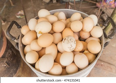Balut (boiled developing duck embryo) for sale at local Thai market