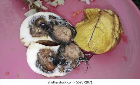 Balut embryo traditional food, dug egg,  asia