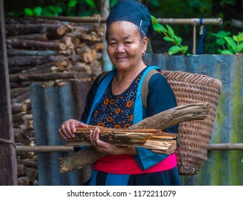BAM NA OUAN , LAOS - AUG 13 : Woman from the Hmong Minority in Bam Na Ouan village Laos on August 13 2018. The Hmong minority is one of the 49 ethnic groups of Laos