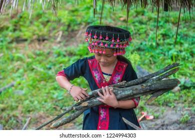 BAM NA OUAN , LAOS - AUG 13 : Girl from the Hmong Minority in Bam Na Ouan village Laos on August 13 2018. The Hmong minority is one of the 49 ethnic groups of Laos