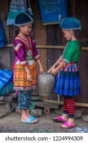 BAM NA OUAN , LAOS - AUG 13 : Girls from the Hmong Minority in Bam Na Ouan village Laos on August 13 2018. The Hmong minority is one of the 49 ethnic groups of Laos