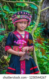 BAM NA OUAN , LAOS - AUG 13 : Girl from the Hmong Minority in Bam Na Ouan village Laos on August 13 2018. The Hmong minority is one of the 49 ethnic groups of Laos