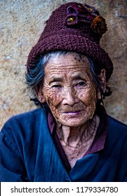 BAM PHOANSA AT , LAOS - AUG 14 : Laotian old woman from the village Bam Phoansa At , Laos on August 14 2018. nearly 70 percent of the population in Laos lives in villages