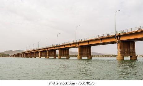 BAMAKO, MALI - CIRCA FEBRUARY 2012: Martyrs bridge on the river Niger in Bamako.