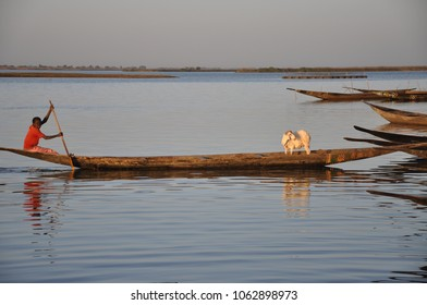 Bamako, Mali - January, 01, 2015: Boat on the Niger river in Mali during sunset