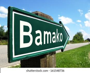 Bamako signpost along a rural road