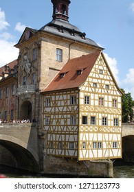 Bamberg, Bavaria, Germany - July 2009: old town hall over the river Regnitz in downtown Bamberg