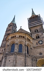 Bamberg Cathedral, Germany, a late Romanesque building with four towers. Large part of Bamberg is a UNESCO World Heritage Site.