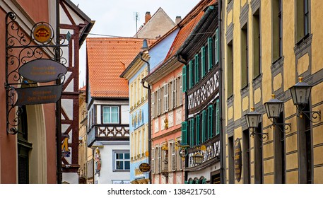 BAMBERG, GERMANY - 17 MARCH 2019: Traditional houses in the old town of Bamberg, Germany on 17 March, 2019.