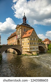 Bamberg, Germany - 7/6/2013:  The Bamberg city hall sits on a island in the river Regnitz in downtown Bamberg, a UNESCO world heritage site
