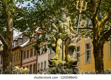 Bamberg, Germany - 7/6/2013:  The Gabelmann.  It is a statue with a fountain in Bamberg, Germany, a Baroque statue of Neptune, the ancient Roman god of the sea